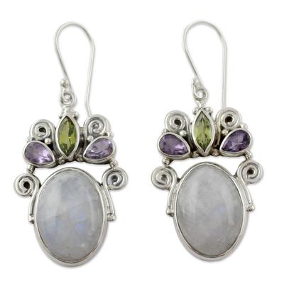 Sterling Silver Multigem Rainbow Moonstone Earrings