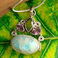 Rainbow moonstone and amethyst pendant necklace, Aura - Rainbow Moonstone Necklace in Sterling Silver from India