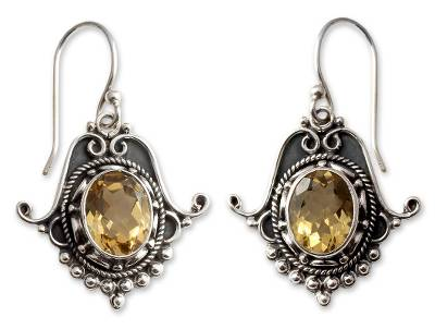 Citrine Earrings in Sterling Silver Jewelry from India