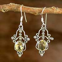 Citrine chandelier earrings, 'Radiance' - Sterling Silver and Citrine Chandelier Earrings