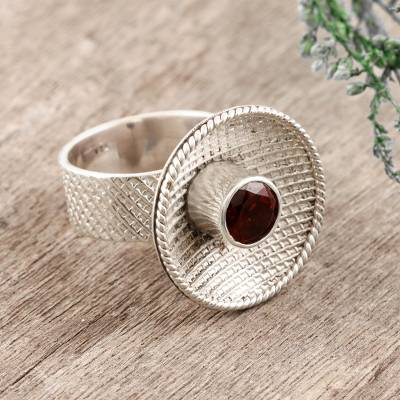 silver ball bead bracelet - Garnet cocktail ring