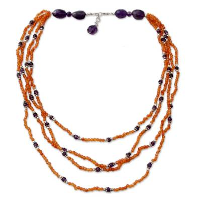 Carnelian and amethyst strand necklace