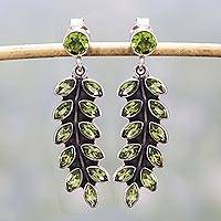 Peridot dangle earrings, 'Summer Fern' - Artisan Crafted Sterling Silver and Peridot Earrings
