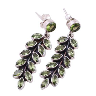 Artisan Crafted Sterling Silver and Peridot Earrings