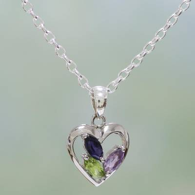 Amethyst and peridot heart necklace, 'All of Us' - Amethyst Peridot and Iolite Necklace Heart Jewelry