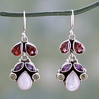Amethyst and rainbow moonstone chandelier earrings, 'Rainbow' - Sterling Silver and Multigem Earrings from India