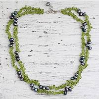 Pearl and peridot strand necklace, 'Opulent Lime' - Pearl and peridot strand necklace