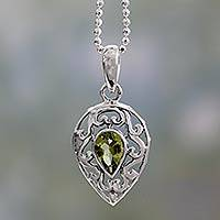 Peridot pendant necklace, 'Lime Lace' - Sterling Silver with Peridot Necklace Birthstone Jewelry