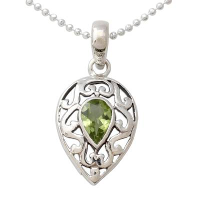 Sterling Silver with Peridot Necklace Birthstone Jewelry