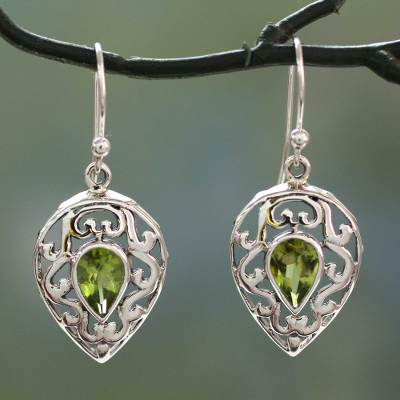 Peridot drop earrings, 'Lime Lace' - India Jewelry Earrings in Sterling Silver and Peridot