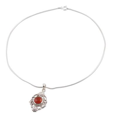 Carnelian and Sterling Silver Pendant Necklace
