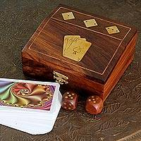 Wood box and game set, 'Jackpot' - Wood box and game set