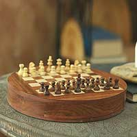 Wood chess set, 'Circular Strategy' - Fair Trade Wood Chess Set Game Board Storage Box