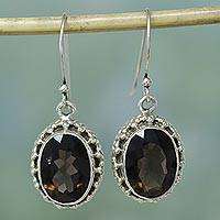 Smoky quartz drop earrings, 'Dazzle' (India)
