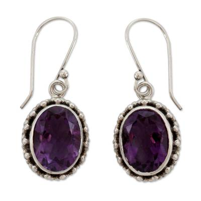 Handmade Sterling Silver and Amethyst Earrings from India