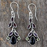 Onyx and amethyst dangle earrings, 'Abundance' - Natural Gemstone Earrings Sterling Silver Jewelry from India