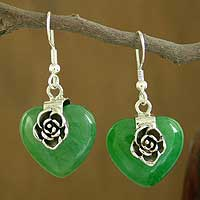 Agate heart earrings,