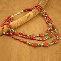 Carnelian and turquoise strand necklace, 'Fiery Sky' - Hand Crafted Carnelian Statement Necklace
