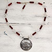 Quartz and carnelian pendant necklace,