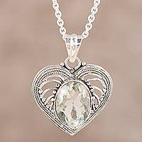 Prasiolite heart necklace, 'Love Rejoice' - Handmade Indian Prasiolite and Silver Heart Necklace