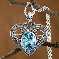 Blue topaz heart necklace, 'Love Rejoice' - Indian Heart Jewelry Sterling Silver Blue Topaz Necklace