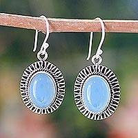 Chalcedony dangle earrings, 'Radiant Sky' - Chalcedony dangle earrings