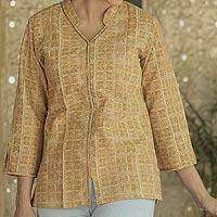 Cotton tunic, 'Earthly Treasure' - Cotton tunic