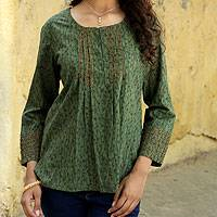Cotton blouse, 'Green Quest' - Cotton Embroidered Blouse Top