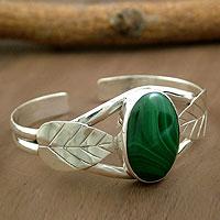 Malachite cuff bracelet, 'Ivy'