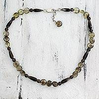 Smoky quartz beaded necklace, 'Midnight Dreams' - Smoky quartz beaded necklace