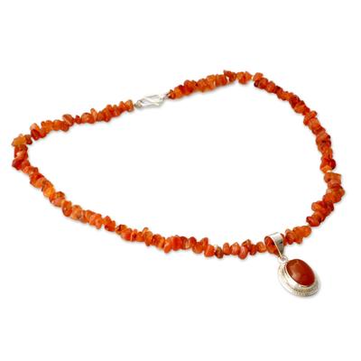 Fair Trade Carnelian Pendant Necklace