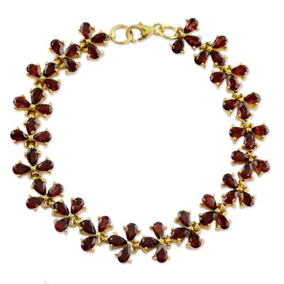 Handcrafted Gold Vermeil and Garnet Bracelet