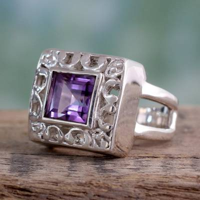 popular silver necklaces - Amethyst cocktail ring