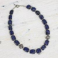 Lapis lazuli strand necklace, 'Blue Goddess' - Womens Unique Royal Blue Statement Necklace