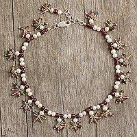 Pearl and garnet anklet, 'Jovial Dance' - Pearl Garnet and Tourmaline Ankle Jewelry from India