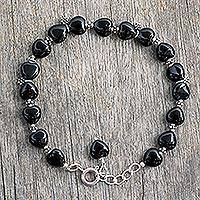 Onyx flower bracelet, 'Blossoming Ecstasy' - Onyx Bracelet Sterling Silver India Heart Jewelry