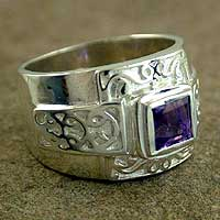 Amethyst cocktail ring, 'Shield' - Contemporary Amethyst Cocktail Ring
