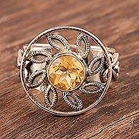 Citrine floral ring, 'Sunflower' - Unique Citrine and Silver Cocktail Ring