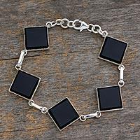 Onyx link bracelet,
