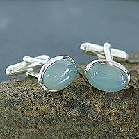 Chalcedony cufflinks, 'Blue Halo' - Men's jewellery Sterling Silver Chalcedony Cufflinks