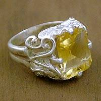 Citrine cocktail ring, 'Elegance' - Citrine Cocktail Ring