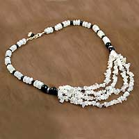 Onyx and moonstone collarette necklace,