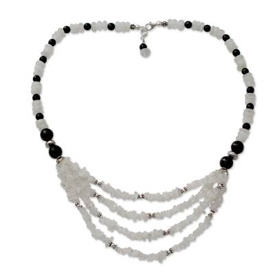 Onyx and moonstone collarette necklace