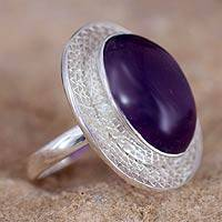 Amethyst cocktail ring, 'Whisper' - Amethyst Cocktail Ring in Sterling Silver Jewelry from India