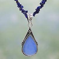 Lapis and chalcedony pendant necklace, 'Regal Blue' - Handcrafted Bohemian Pendant from India