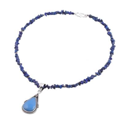 Lapis Lazuli Sterling Silver and Chalcedony Necklace