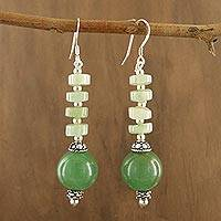 Aquamarine and aventurine dangle earrings,