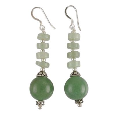 Aquamarine and aventurine dangle earrings