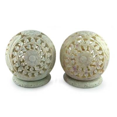 Hand Carved Jali Soapstone Candle Holders (Pair)