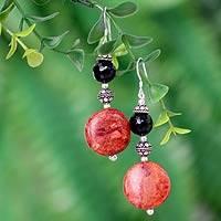 Jasper and onyx dangle earrings, 'Impassioned' - Jasper and onyx dangle earrings